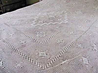 Vintage Filet Lace Net Darned Lace Handmade Table Cloth Bed Spread NOS Japan