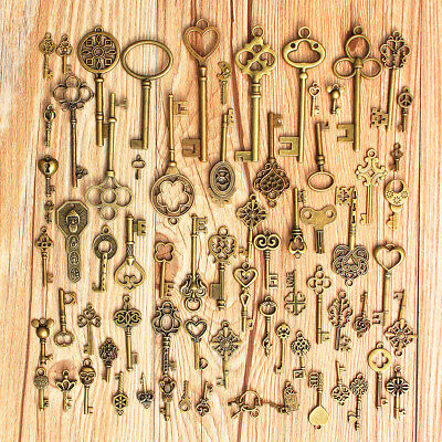 Lot Of Vintage Keys Skeleton Bronze Door Lock Antique Old Gate Keys Usa 70 Pcs