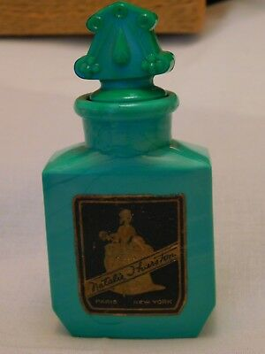 1920's Art Deco Natalie Thurston Paris New York Green Slag Glass Perfume Bottle