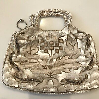 Antique Vintage Beaded Purse Cream and Silver Beading Top handle