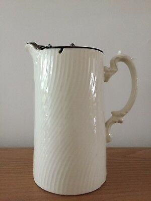 Ceramic   cream Jug with Pewter Weighted Lid- opens when pouring