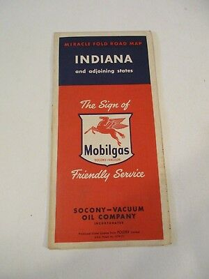 Vintage Mobilgas Indiana Oil Gas Station Travel Road Map~1950 Census