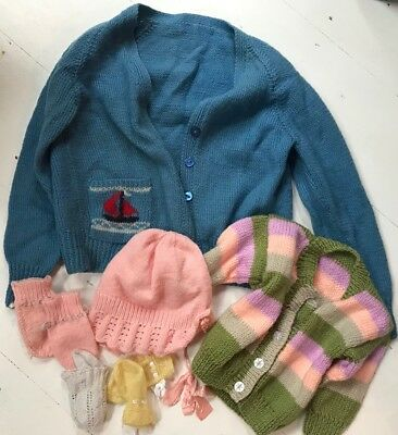 Selection Of Six Vintage Children's Hand Knitted Items -Varied designs & colours