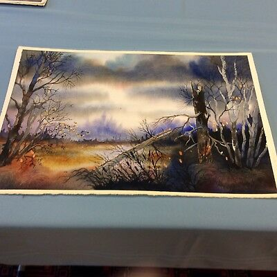 """Original watercolor by: Edward T. Robinson ; """"Swamp Lights"""" (A-front-floor)"""