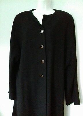 Classic Vintage JEAN MUIR Trouser Suit Black Wool Crepe M/L Made in England