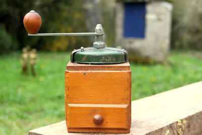 Original  Vintage Manual French Solid Wood and Brass Coffee Grinder with Drawer