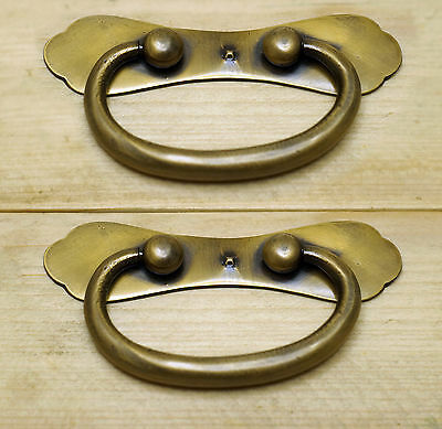 "4.21"" 2 pcs Vintage Retro Bail Plate Antique Cabinet Drawer Brass Handle Pulls"