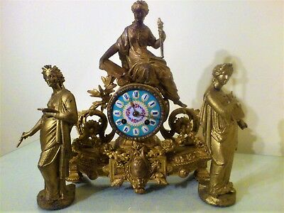 Antique French Gilt Mantel Clock Garniture.