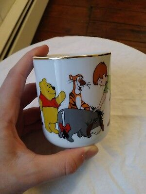 Vintage Winnie The Pooh Walt Disney Collectors Mug Gold Rim Japan