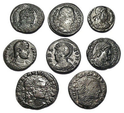 Lot of 8 Æ3-4 Ancient Roman Bronze Coins from IV. Century