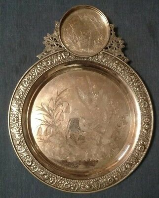 Late 1800s Meriden Quadruple Plate Tray with Etched Birds and Chased Floral Edge