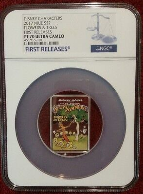 2017 Disney Poster Coin Flowers & Trees Ngc First Release Pf70Uc 1 Oz Silver