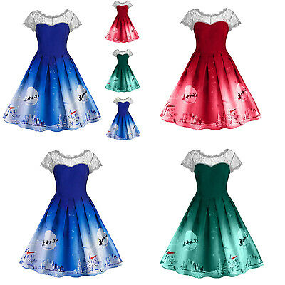 Christmas Women Lace Short Sleeve Dress Snowflake Print Swing Flared Dress