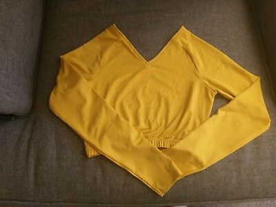 Yellow Gold Cheer Crop Top Undertop Size adult small