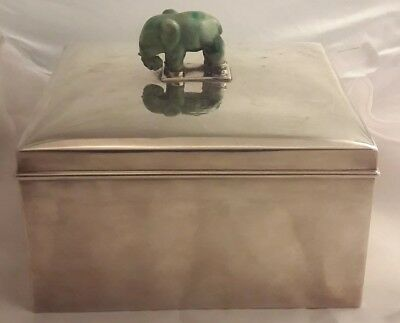 RARE Black Starr & Frost Sterling Silver Tea Caddy w/ Jade Elephant