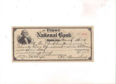 1912 The First National Bank of ERIE, ILLINOIS bank check