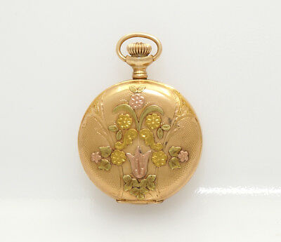 Beautiful 33mm 14k Gold Multi Color Elgin Hunting Case Antique Pendent Watch