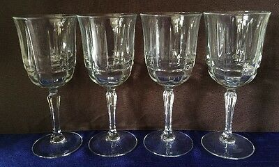 4 Arcoroc Arcade-Bengale Wine Glasses, Clear panels, scalloped, 7 1/4 inches