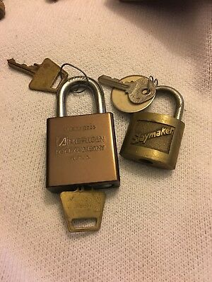 Vintage AMERICAN LOCK COMPANY Series 1205 LOCK with KEY And Slaymaker 5 Set (2)