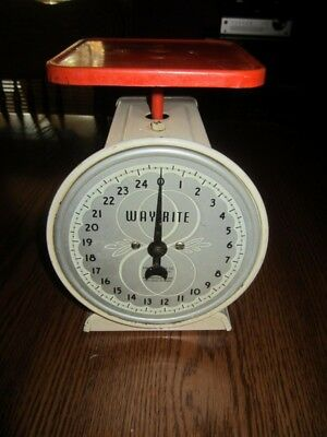 Vintage Way-Rite White & Red Scale 25 Pounds Kitchen Tabletop