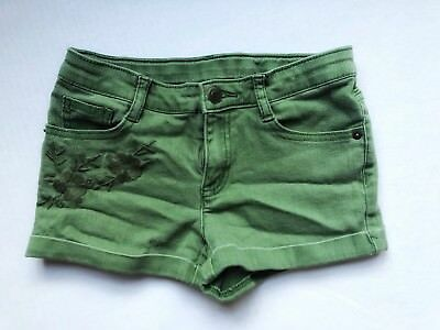 CRAZY 8 Girls Size 10 Olive Green Shorts Floral Embroidery Army Spring 2016 A4