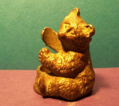 Vintage old Miniature FIGURAL collectible heavy pot METAL detailed BEAR holder