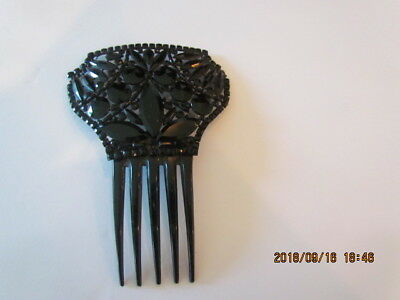 Antique Victorian Jet Black Celluloid Hair Comb Mourning Jewelry Beautiful