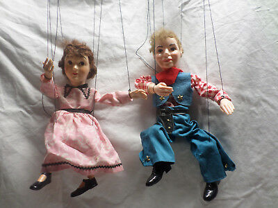 HAZELLES POPULAR MARIONETTES  VINTAGE LOT OF 2 , Rodeo Roy 313 ,No. 810 PENNY