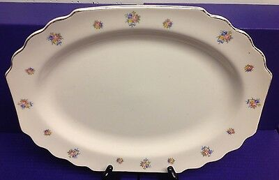 WS George Lido White Scalloped Platter, Pink Yellow flwrs, Blue Bow