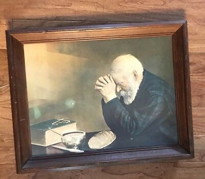 Vintage Canvas Grace Old Man Praying Picture Daily Bread 19x 24