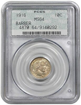 1916 Barber Dime, PCGS (OGH - Doily) MS64