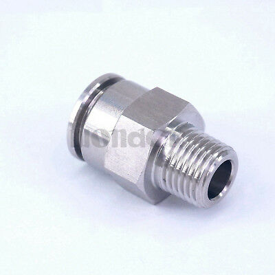 "Pneumatic Straight Tube OD 12mm*1/4""BSP 304 Stainless Steel Male Push in Fitting"