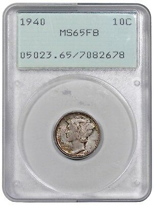 1940 Mercury Dime, PCGS (OGH - Rattler) MS65FB, nicely toned