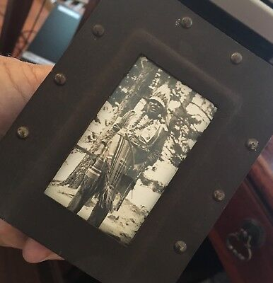 Antique or Vintage Native Amercan Indian Chief Photograph Rivited Frame