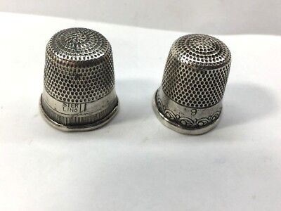 Antique Pair of Sterling Silver Sewing Thimbles Size #9 & #11!