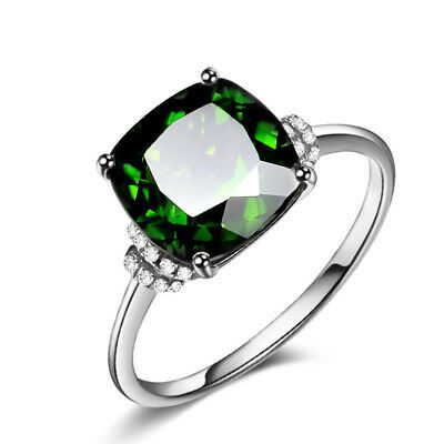 Elegant Women's Wedding Rings 925 Silver Jewelry Emerald Cocktail Ring Size 6-10
