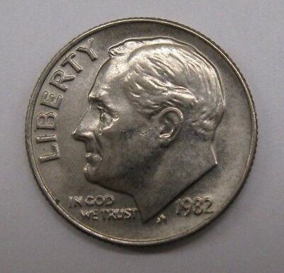 1982 No p Roosevelt dime AU - Mint Error 10,000 minted