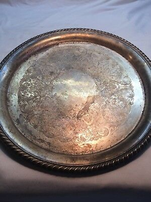Vintage Silver Plated Round Tray Serving Platter International Silver Co
