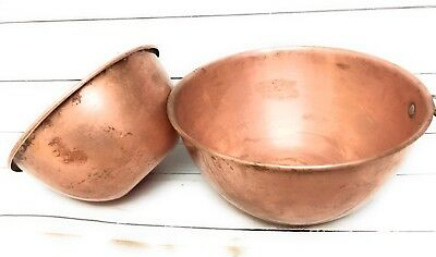 Copper Whipping Bowls Set Of Two Vintage Mixing Bowls Nesting Needs Cleaning