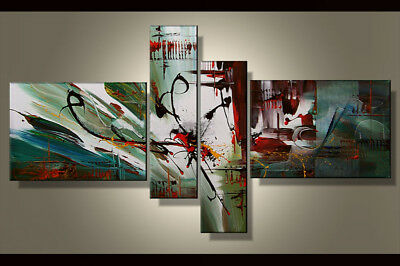 Hand-painted Modern Abstract Oil Painting on Canvas 4 Panel Wall Art Framed Ab22