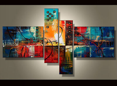 Hand-painted Modern Abstract Oil Painting on Canvas 4 Panel Wall Art Framed Ab30
