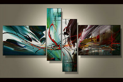 Hand-painted Modern Abstract Oil Painting on Canvas 4 Panel Wall Art Framed Ab34