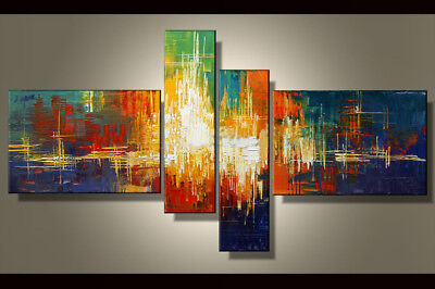 Hand-painted Modern Abstract Oil Painting on Canvas 4 Panel Wall Art Framed Ab38