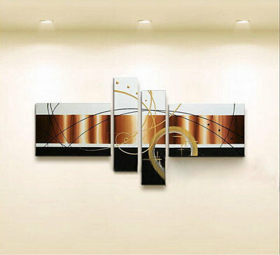 Hand-painted Modern Abstract Oil Painting on Canvas 4 Panel Wall Art Framed Ab45