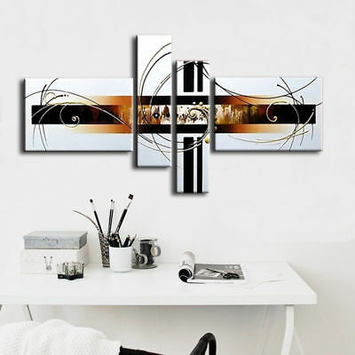 Hand-painted Modern Abstract Oil Painting on Canvas 4 Panel Wall Art Framed Ab48