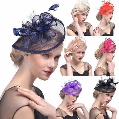 Women Hat Feather Mesh Net Veil Formal Party Hat Flower Hat with Clip Hairband