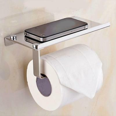 Silver Toilet Paper Holder Mobile Phone Storage Shelf Holders Wall Mounted Rack