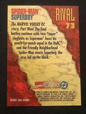 1995 DC Versus Marvel Fleer SkyBox Card #73 Spider-Man Superboy