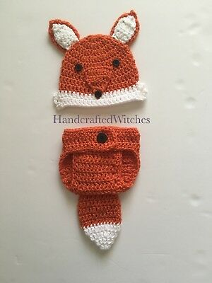 Hand Crochet Fox Outfit For Newborn , Baby Photography Prop, (0-3 Months)