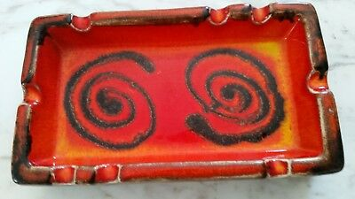 Ellis -Australian Pottery- red/orange designer ashtray - retro - cocktail bar